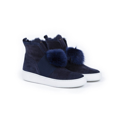 Boots Mai Mai navy blue with pompons for women