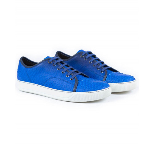 Tennis shoes Lanvin in python electric blue for men