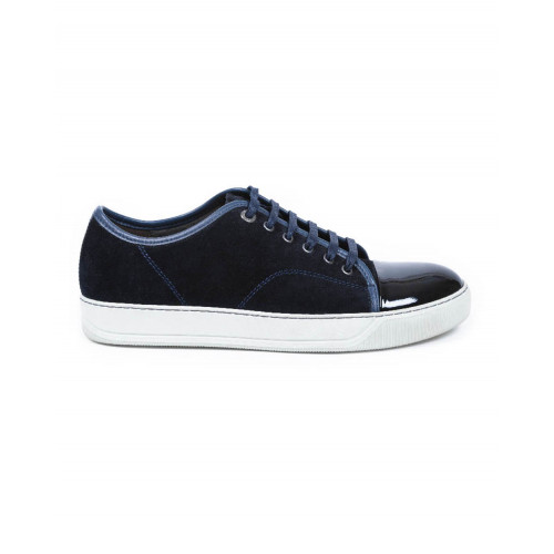 Tennis shoes Lanvin indigo/blue with patent top for men