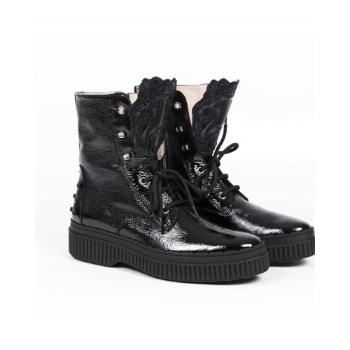 Achat High boots Tod's patent black with laces for women - Jacques-loup