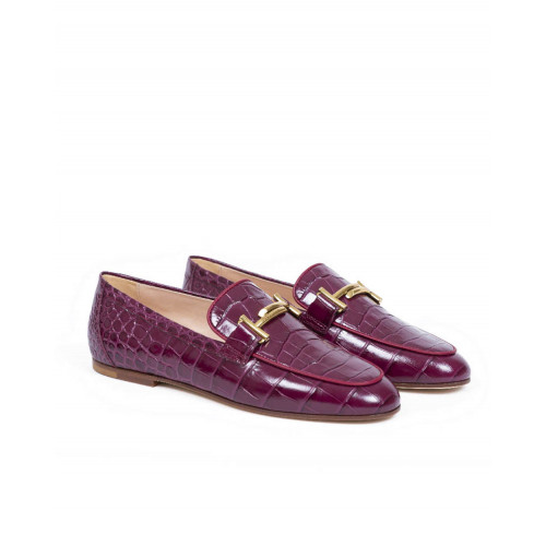 Moccasins Tod's bordeaux with double T for women