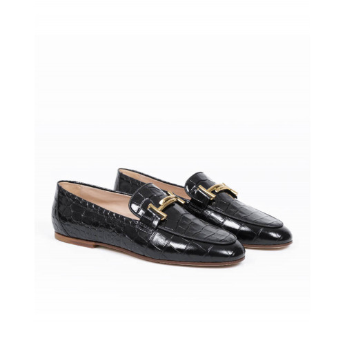 Moccasins Tod's black with golden double T for women