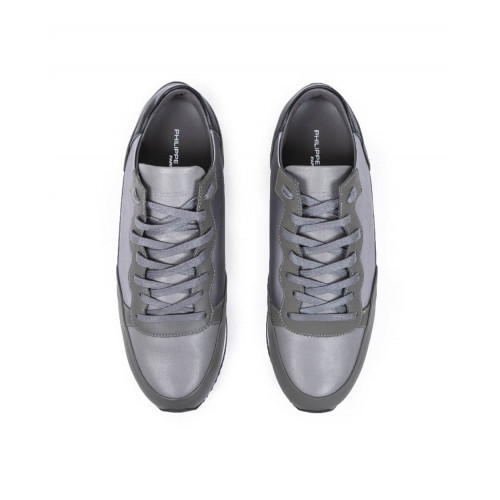 Achat Tennis shoes Philippe Model Bright grey with patent details for men - Jacques-loup