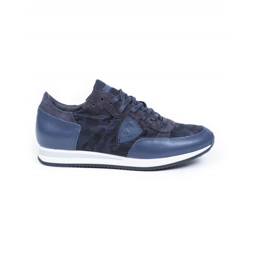 Sneakers Philippe Model navy blue with camouflage print for men