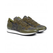 Sneakers Philippe Model khaki with camouflage print for men