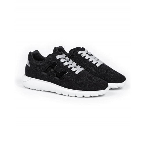 "Sneakers Hogan ""I Cube"" black/silver with white sole for women"