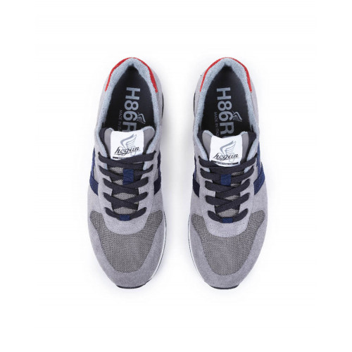 "Sneakers Hogan ""H86 RUN"" grey with navy blue et red details for men"