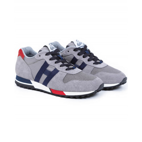Achat Sneakers Hogan H86 RUN grey with navy blue et red details for men - Jacques-loup