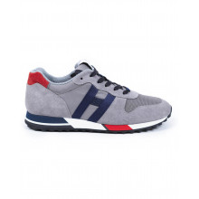"""Sneakers Hogan """"H86 RUN"""" grey with navy blue et red details for men"""