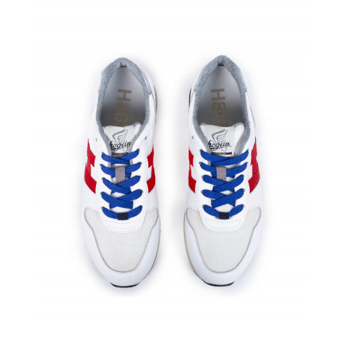 "Sneakers Hogan ""H86 RUN"" white with navy blue and red details for men"