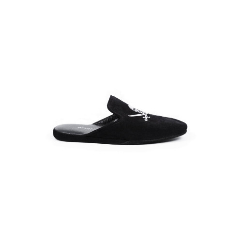 Indoor mules Jacques Loup black with silver embroidery for men