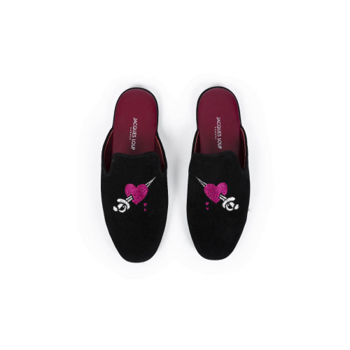 Achat Indoor mules Jacques Loup bordeaux with embroidery for men - Jacques-loup