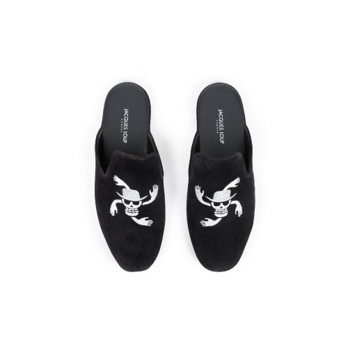 Achat Indoor mules Jacques Loup navy blue with silver embroidery for men - Jacques-loup