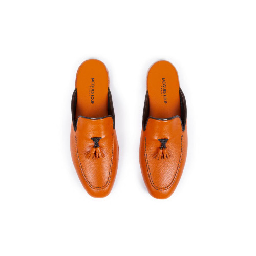 Achat Indoor mules Jacques Loup orange with orange tassels for men - Jacques-loup