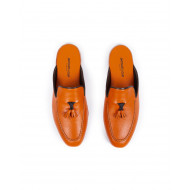 Indoor mules Jacques Loup orange with orange tassels for men