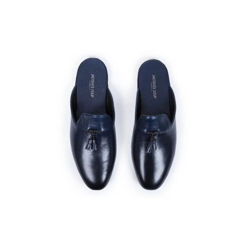 Achat Indoor mules Jacques Loup navy blue with tassels for en - Jacques-loup