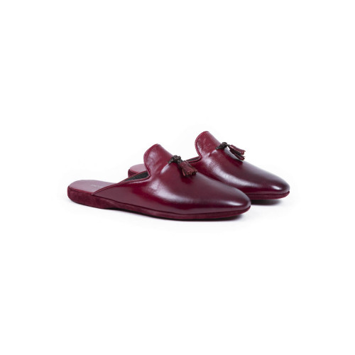 Achat Indoor mules Jacques Loup bordeaux with tassels for en - Jacques-loup
