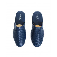 Travel mule Jacques Loup in blue plaited leather for men