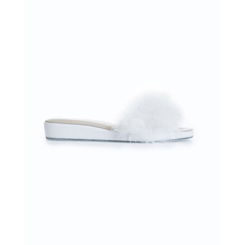 Indoor mule Jacques Loup white with open toe and feathers for women