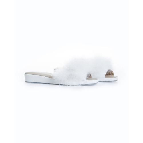 Achat Indoor mule Jacques Loup white with open toe and feathers for women - Jacques-loup