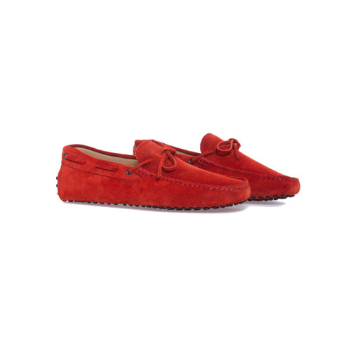 Red moccasins with shoelaces Tod's for men