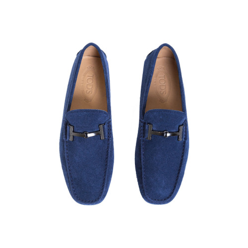 "Moccasins Tod's ""Doppia T"" navy blue with metallic bit ""Double T"" for men"