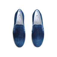 "Slip-on shoes Tod's ""Pantofola"" navy blue in denim for men"