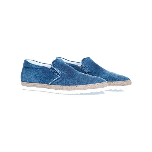 "Slip-on shoes Tod's ""Pantofola"" faded blue in denim for men"