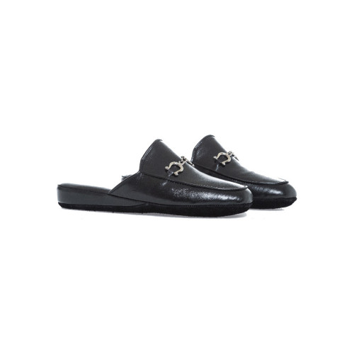 """Indoor mule Line Loup """"Ludovic"""" black with tassels for men"""