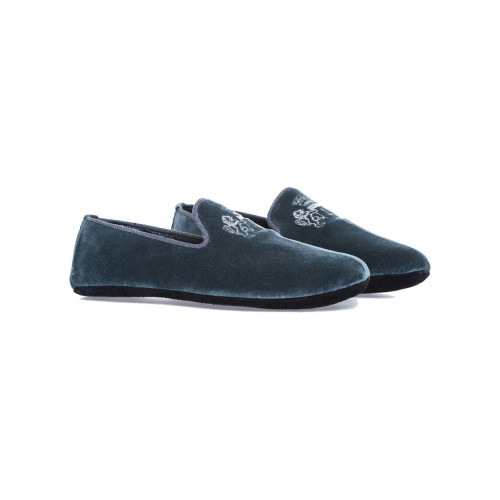 "Indoor loafers Line Loup ""Robert-André"" grey in velvet for men"
