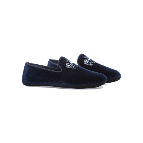 "Indoor loafers  Line Loup ""Robert-André"" navy blue in velvet for men"