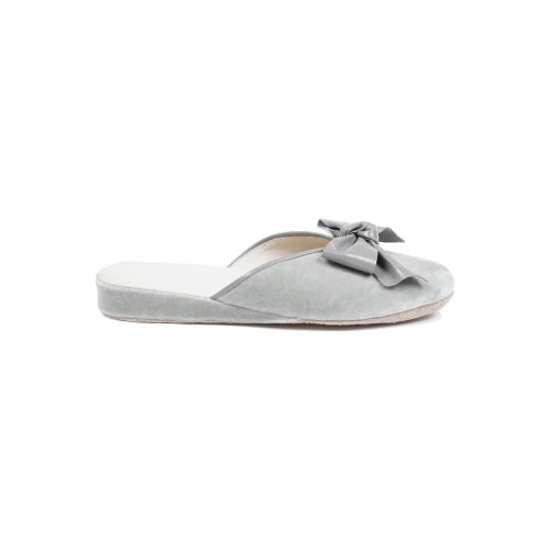 "Indoor mules Line Loup ""Nicole"" grey with leather decorative knot for women"