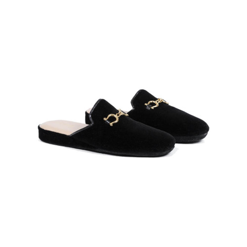 Achat Indoor mules Line Loup Jacqueline black with metallic bit for women - Jacques-loup