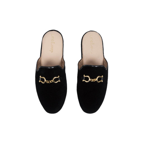 "Indoor mules Line Loup ""Jacqueline"" black with metallic bit for women"