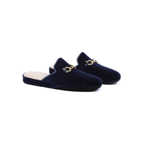 "Indoor mules Line Loup ""Jacqueline"" navy blue with metallic bit for women"