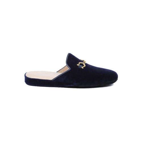 Achat Indoor mules Line Loup Jacqueline navy blue with metallic bit for women - Jacques-loup