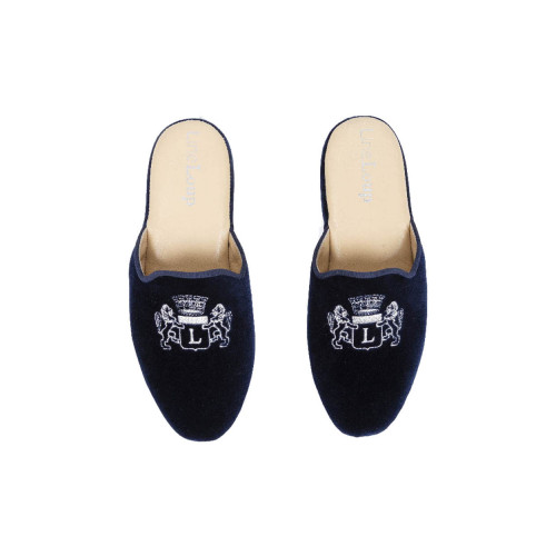 "Indoor mules Line Loup ""Stéphanie"" navy blue with silver embroidery for women"