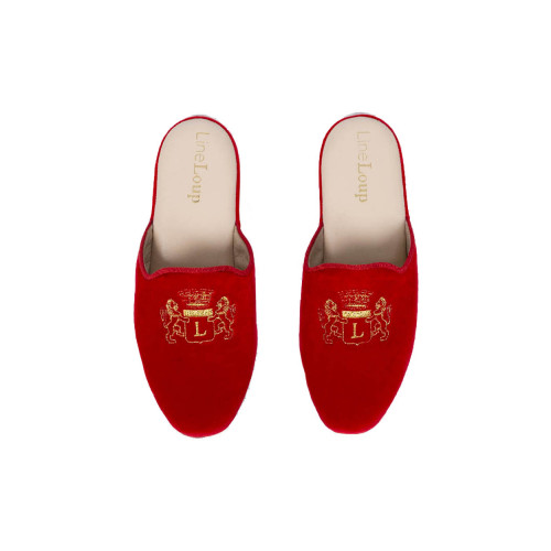 "Indoor mules Line Loup ""Stéphanie"" red with golden embroidery for women"