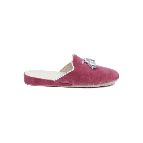 Achat Indoor mules Line Loup Caroline pink with silver tassels for women - Jacques-loup