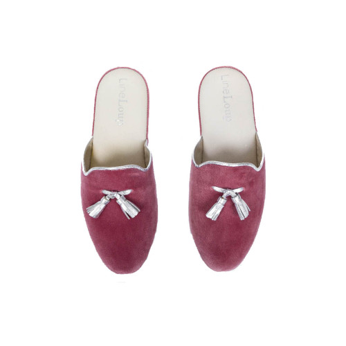 "Indoor mules Line Loup ""Caroline"" pink with silver tassels for women"