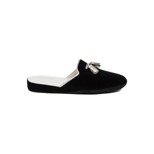 Achat Indoor mules Line Loup Caroline black with silver tassels for women - Jacques-loup
