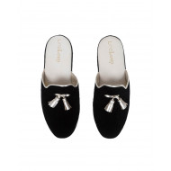 "Indoor mules Line Loup ""Caroline"" black with silver tassels for women"