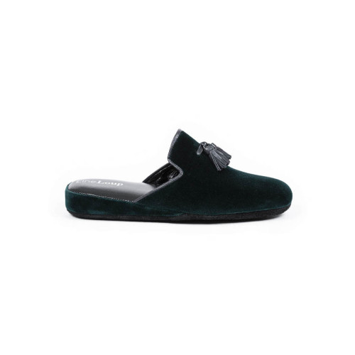 Achat Indoor mule Line Loup Boz dark green with tassels for men - Jacques-loup