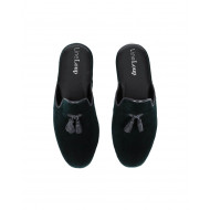"Indoor mule Line Loup ""Boz"" dark green with tassels for men"