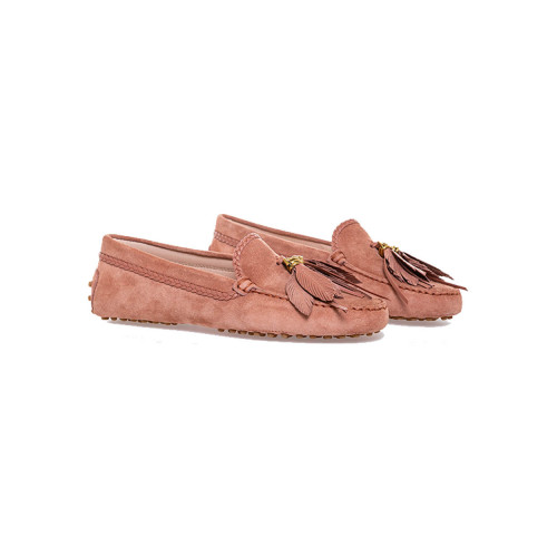 Moccasins Tod's antique pink with leaves tassels for women