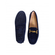 Moccasins Tod's blue with metallic bar for women