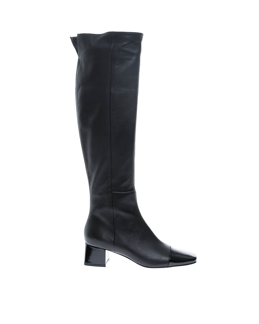 Leather boots with square patent toe 45