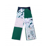 Pantalon large en soie patchwork