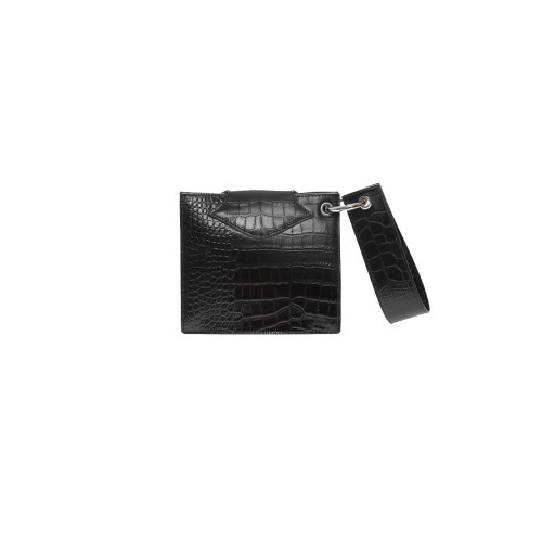 """Cercle S"" Leather bag crocodile print round flap"
