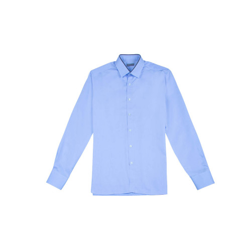 Cotton shirt grey piping around the collar